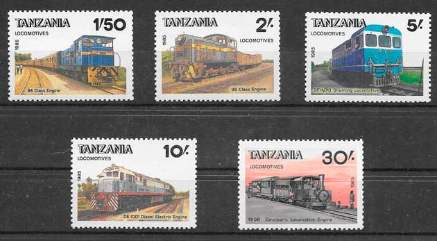 sellos trenes Tanzania 1985
