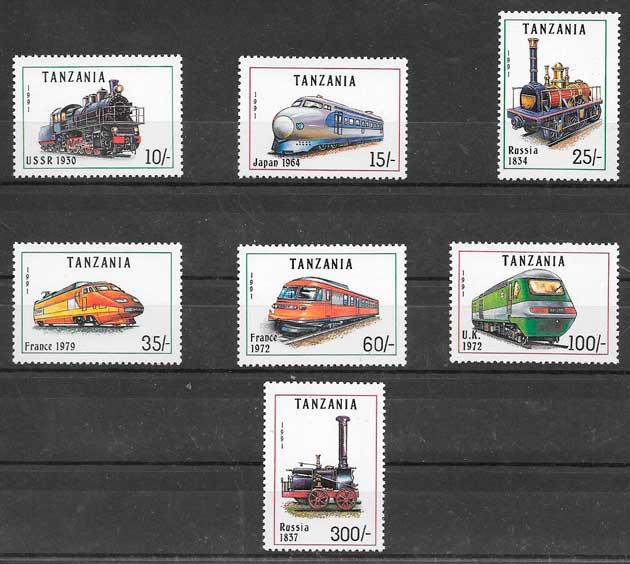 sellos trenes Tanzania 1991
