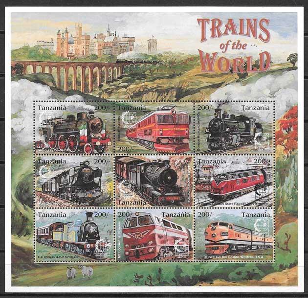 sellos trenes Tanzania 1995