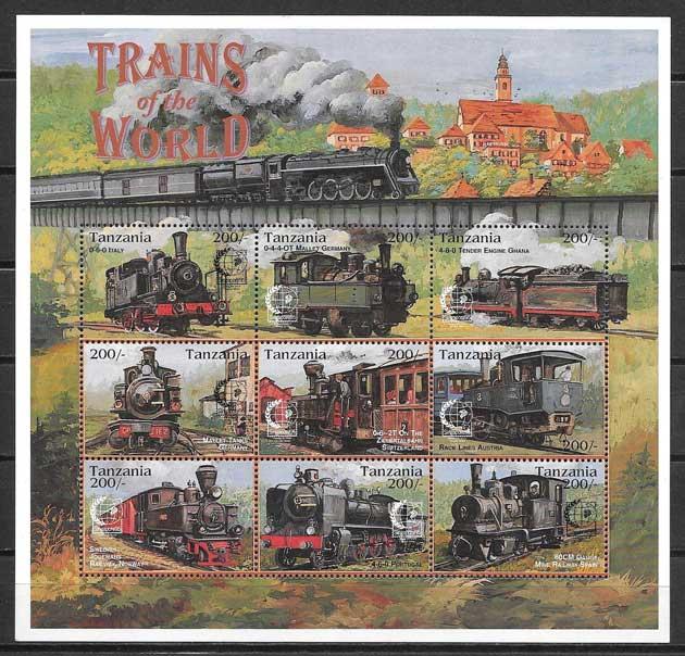Colección sellos trenes Tanzania 1995