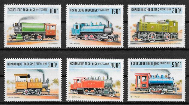 colección sellos trenes Togo 1999