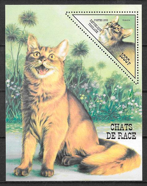 sellos gatos Togo 1999
