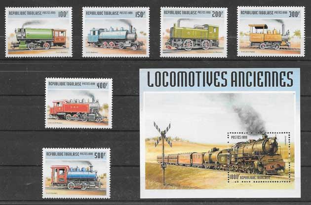 Filatelia sellos trenes locomotoras de Togo 1990