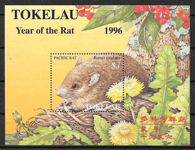 filatelia colección año lunar 1996 Tokelau