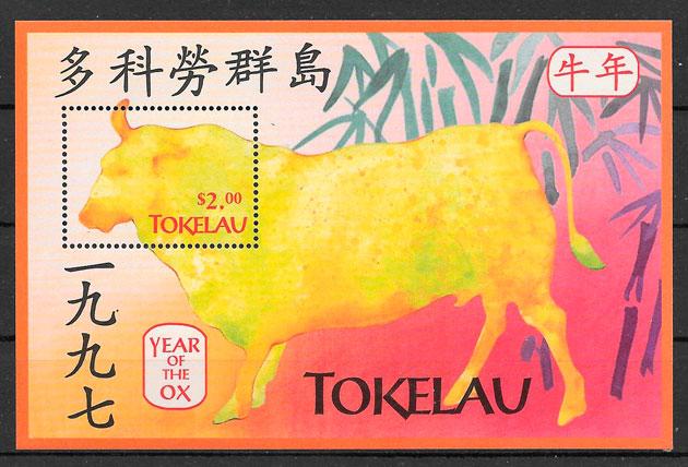 filatelia colección año lunar Tokelau 1997