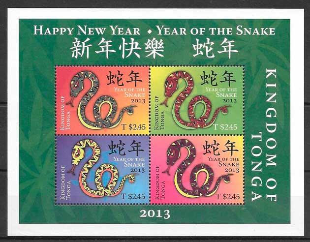 sellos año lunar Tonga 2013