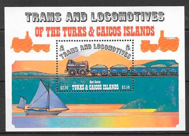 sellos colección trenes Turkcs Caicos Islas 1983
