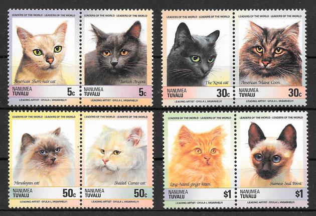 colección sellos gatos Tuvalu