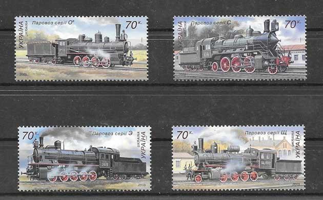 Sellos locomotoras  vapor de Ucrania