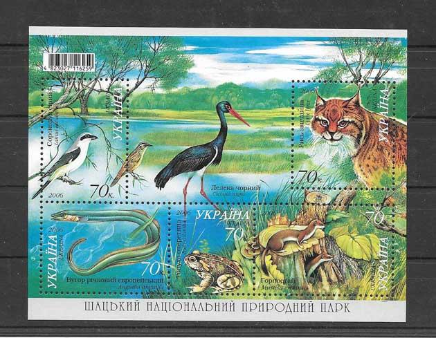 Colección Sellos hojita de 5 sellos fauna