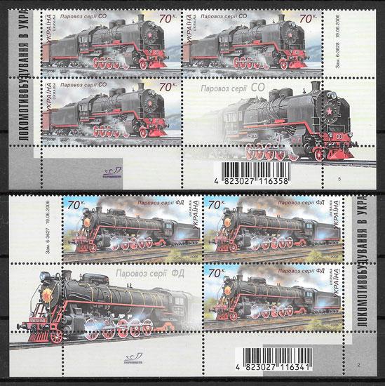 filatelia colección trenes Ucrania 2006