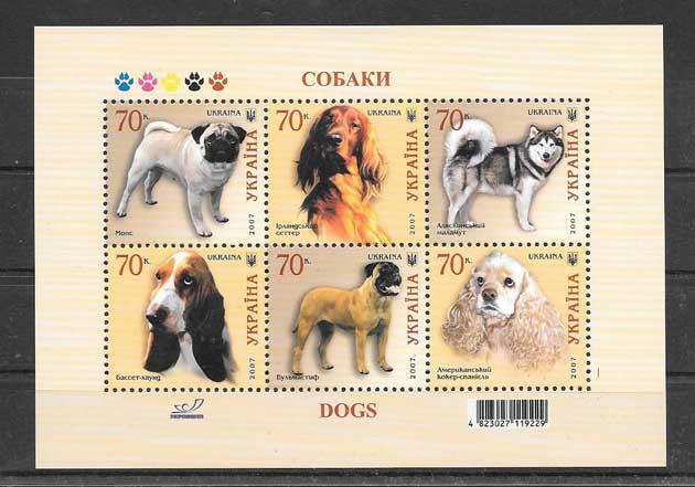 Colección sellos fauna perros de razas Ucrania 2007
