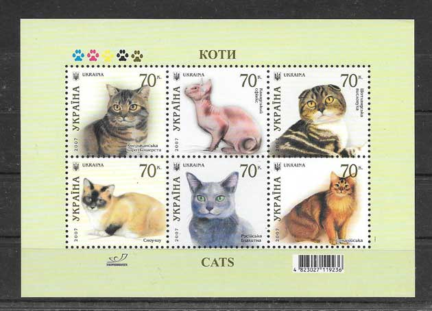 Colección sellos gatos de razas Ucrania