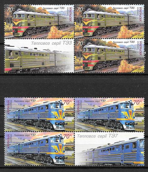 filatelia colección trenes Ucrania 2007