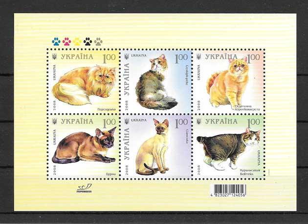 Colección sellos gatos raza Ucrania 2008