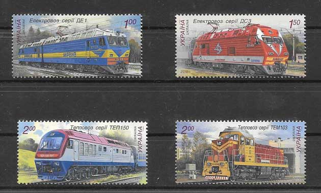 Sellos trenes diferentes Ucrania 2010