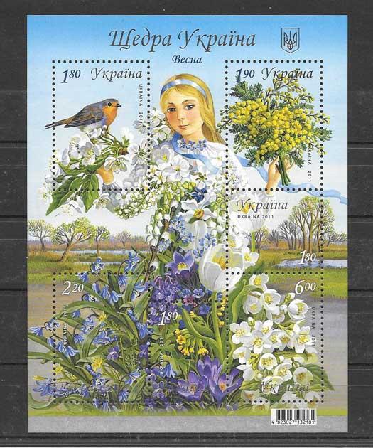 Filatelia Sellos hojita de fauna y flora de la primavera.