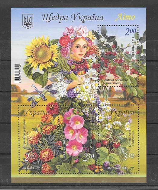 Filatelia Sellos hojita de 4 sellos fauna y flora 2012