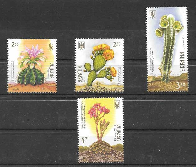 Filatelia Sellos cactus de Ucrania 2014