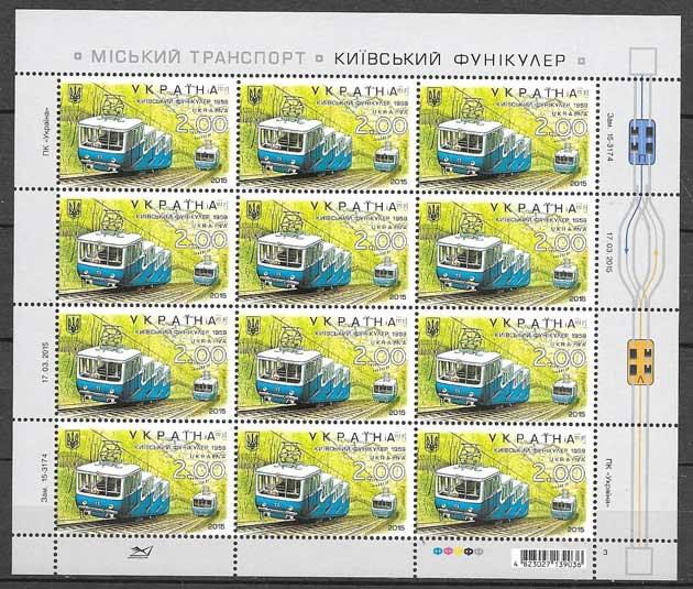 Estamplillas trenes Ucrania 2015
