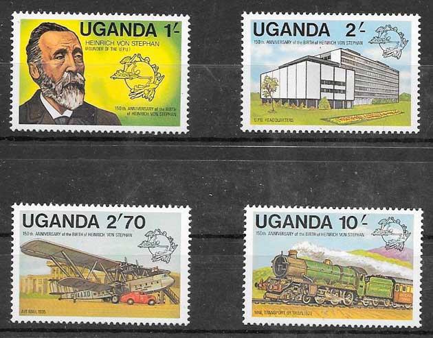 sellos colección trenes Uganda 1981