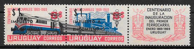 sellos trenes Uruguay 1969