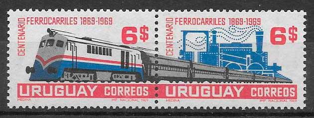 sellos colección trenes 1969