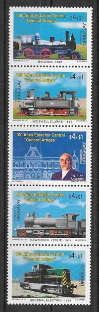 Sellos colección transporte ferroviario de Uruguay 1997