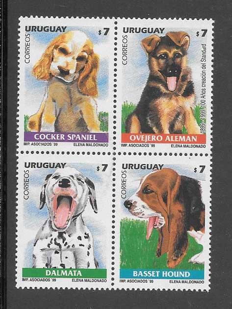 Colección sellos serie de cachorros de perros Uruguay