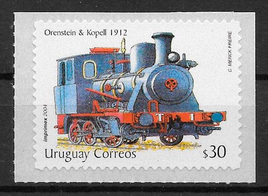 sellos trenes Uruguay 2004
