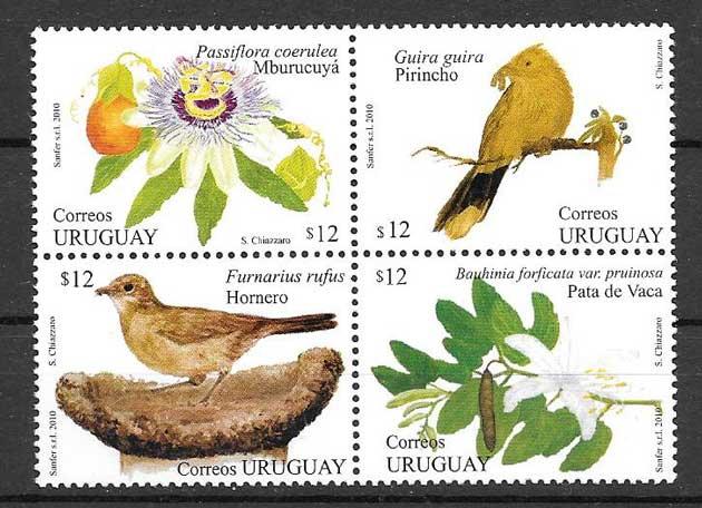 Colección sellos fauna y flora Uruguay - primavera