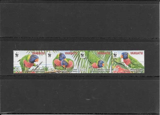 Filatelia sellos serie de fauna - loros.