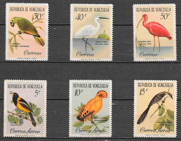 sellos fauna Venezuela 1961