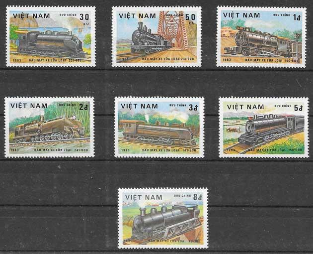 sellos colección trenes Viet Nam 1983