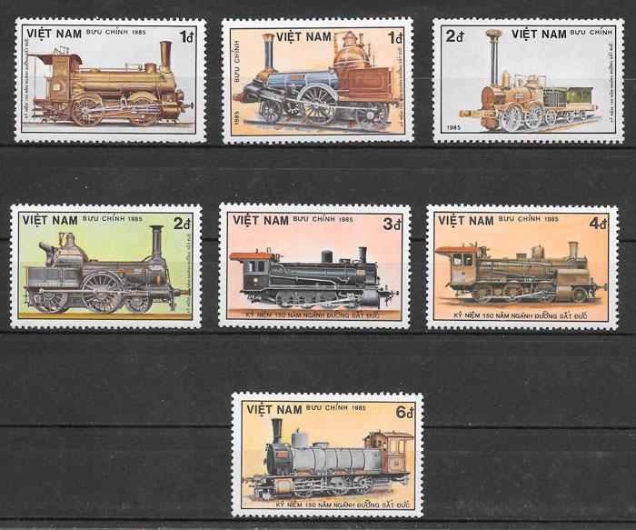 filatelia colección trenes Vit Nam 1985