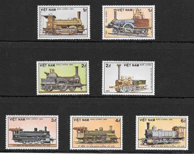 Colección sellos transporte ferroviario