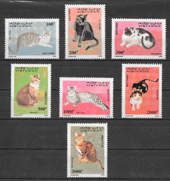 colección sellos gatos Viet Nam 1990