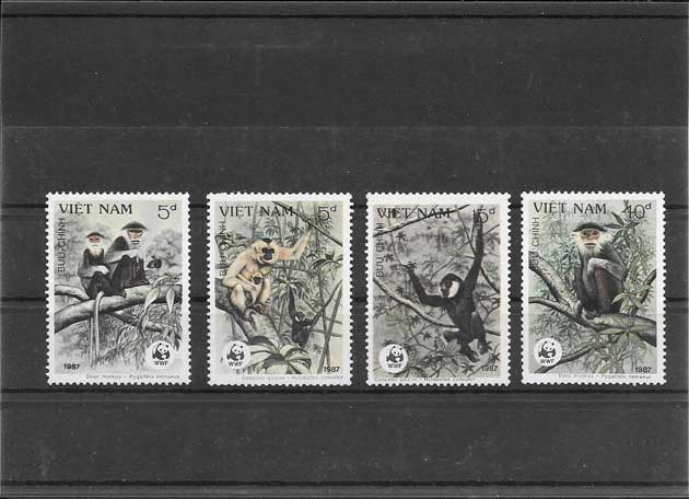 Colección sellos fauna monos protegidos