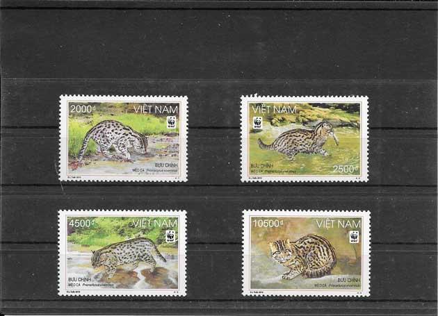 Colección sellos serie de gatos salvaje
