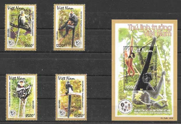 sellos colección fauna Viet Nam 2014