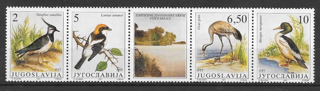 sellos fauna Yugoslavia 1991