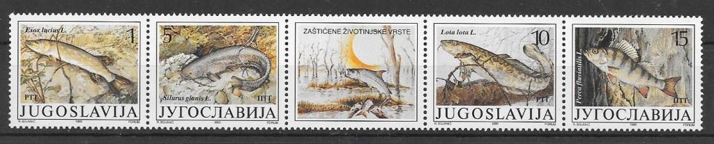 sellos fauna Yugoslavia 1990