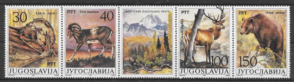 sellos fauna Yugoslavia 1987