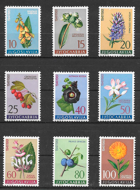 colección sellos flora Yugoslavia 1961