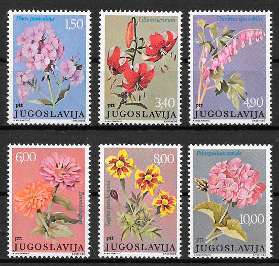 colección sellos flora Yugoslavia 1977