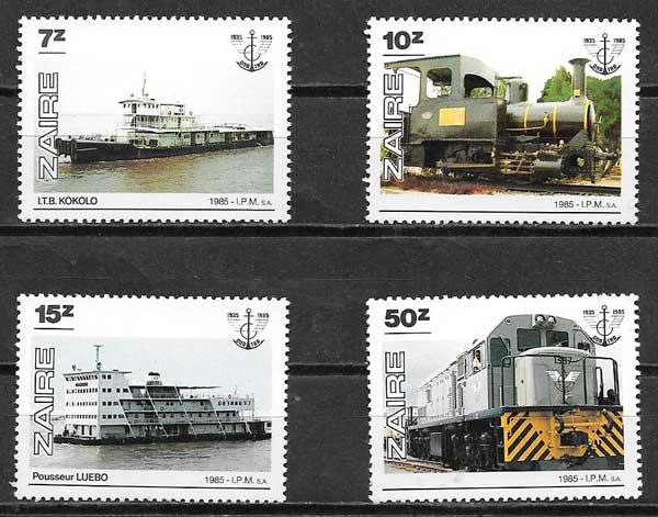 filatelia colección trenes Zaire 1985