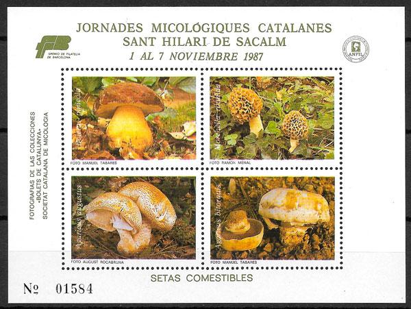 coleccion sellos setas Cataluna 1987