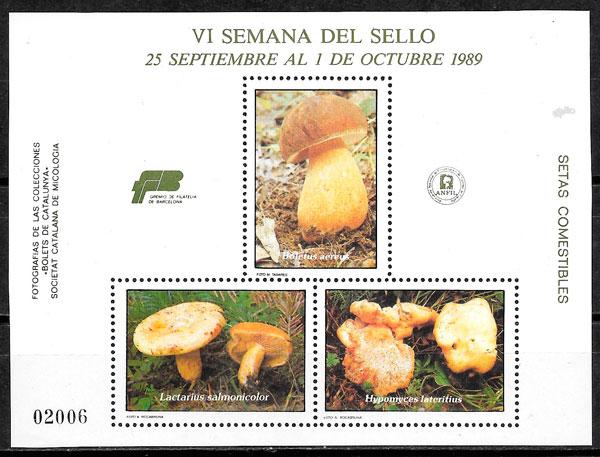 coleccion sellos setas Cataluna 1989