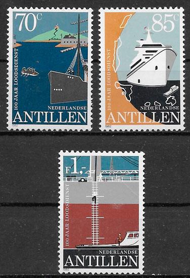 colección sellos transporte Antillas Holandesas 1982