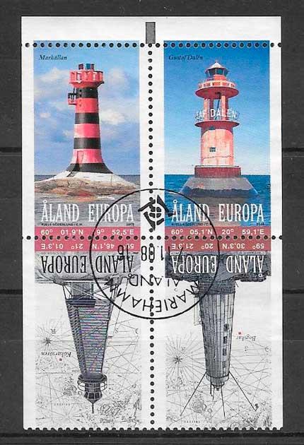 colección sellos faros Aland 2008